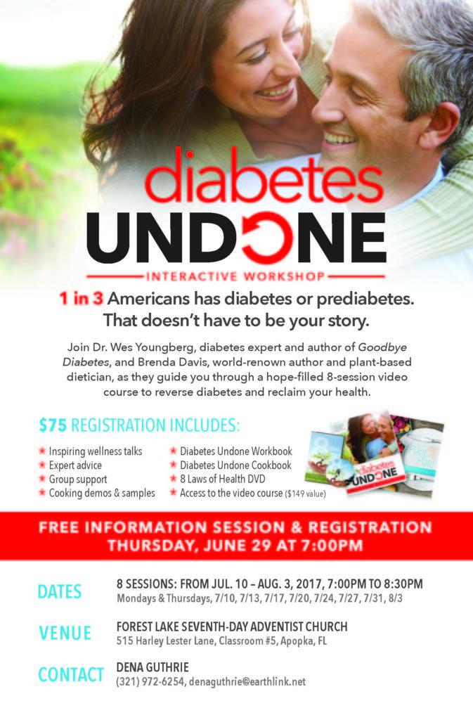 FLYER for 7-2017 Class Diabetes Undone